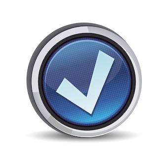 Okrągły przycisk ze znakiem kleszcza