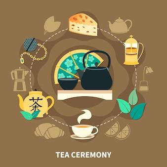 Okrągły skład ceremonii parzenia herbaty