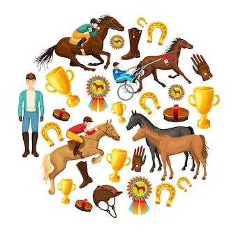Okrągły skład kreskówka jeździectwo