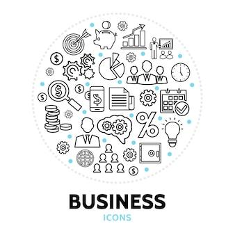 Okrągły skład z elementami biznesowymi