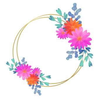 Okrągły styl kwiatowy ramki ślubne