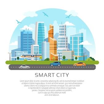 Okrągły styl miasta wieżowce w centrum miasta krajobraz. budynki, wieżowce i ruch komunikacyjny