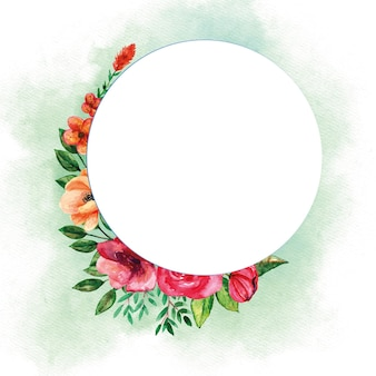 Okrągły szablon bukiety z akwarela kwiaty