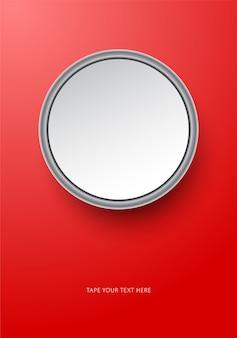 Okrągły szablon makiety płomień zdjęcie na czerwono.