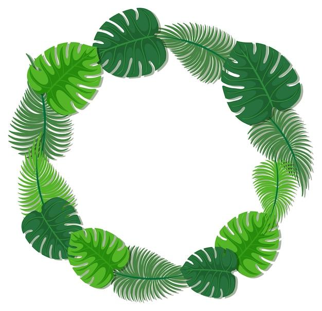 Okrągły szablon ramki tropikalnych liści