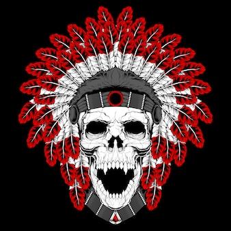 Okrągły szablon tatuażu z ludzką czaszką w indyjskim piórkowym kapeluszu i abstrakcyjnym wzorze. element, nadruk na koszulki