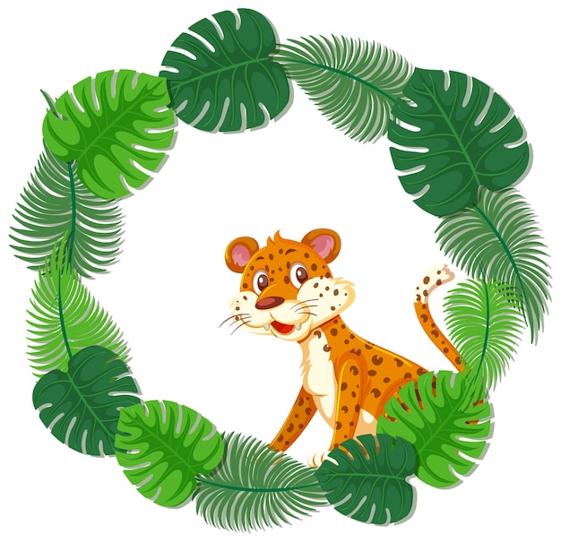 Okrągły szablon transparentu z zielonymi liśćmi z postacią z kreskówki lamparta