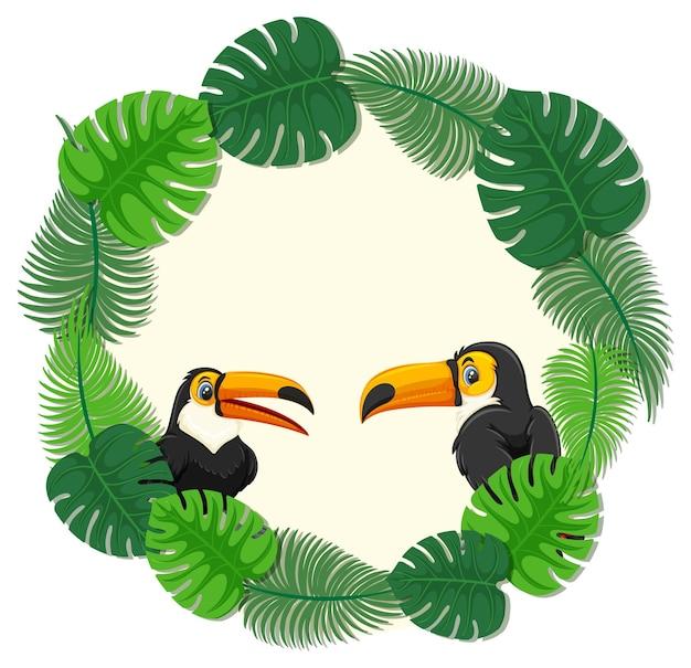 Okrągły szablon transparentu z zielonymi liśćmi z postacią z kreskówki tukana