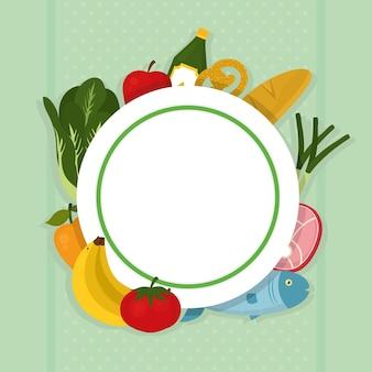 Okrągły szablon z artykułami spożywczymi i warzywami dookoła