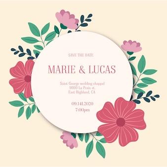 Okrągły szablon zaproszenia ślubne kwiatowy