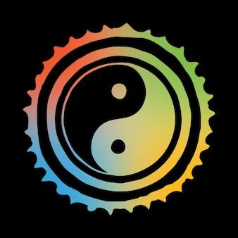 Okrągły szkic, kolory tęczy na ciemnym tle, symbol yin yang, kultura i filozofia wschodu