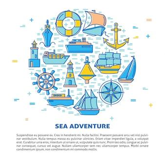 Okrągły transparent przygody morskiej
