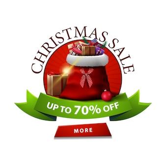 Okrągły transparent świąteczny rabat z workiem świętego mikołaja z prezentami