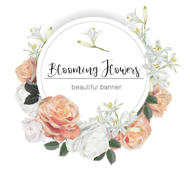 Okrągły transparent z ilustracji wektorowych róż