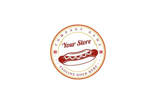 Okrągły vintage retro hot dog kiełbasa etykieta logo projekt wektor