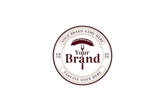Okrągły vintage retro rustykalna kiełbasa etykieta logo projekt wektor