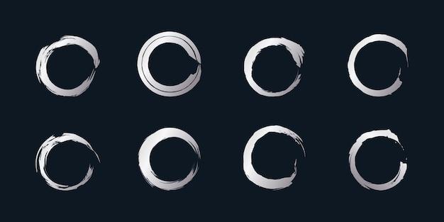 Okrągły wektor elementu pędzla z kreatywnym srebrnym kształtem premium wektorów część 1