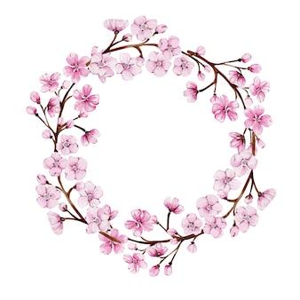 Okrągły wianek z kwitnącą różową sakurą
