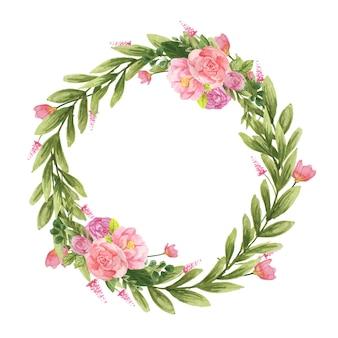 Okrągły wieniec akwarelowy z jasnoróżowym i kwiatami