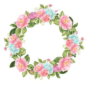 Okrągły wieniec akwarelowy z różowymi i niebieskimi kwiatami