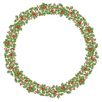 Okrągły wieniec bożonarodzeniowy z ostrokrzewem.