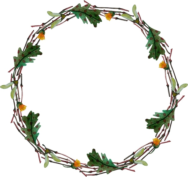Okrągły wieniec jesień akwarela