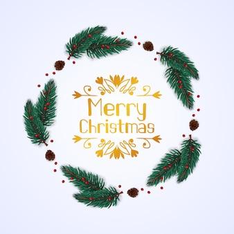 Okrągły wieniec jodła pozostawia girlandę z szyszka do świątecznych dekoracji