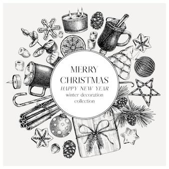 Okrągły wieniec świąteczny w stylu vintage handsketched ozdoba choinkowa