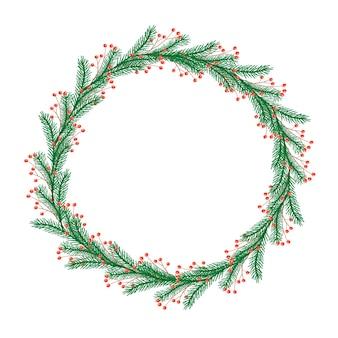 Okrągły wieniec świąteczny z gałązkami i jagodami