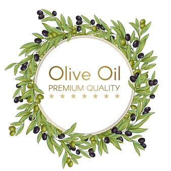 Okrągły wieniec z oliwy z oliwek na etykietę