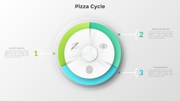 Okrągły wykres kołowy podzielony na 3 równe części z ikonami cienkich linii w środku połączonymi z ponumerowanymi polami tekstowymi. koncepcja schematu cyklu pizzy. szablon projektu nowoczesny plansza.