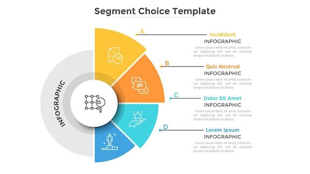 Okrągły wykres kołowy z jedną połówką podzieloną na 4 kolorowe sektory lub segmenty. cztery cechy projektu startowego. szablon projektu kreatywnych plansza. ilustracja wektorowa płaski do prezentacji biznesowych.