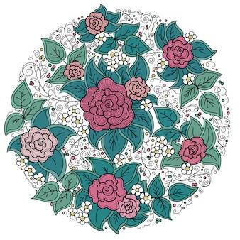 Okrągły wzór kwiatowy