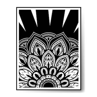 Okrągły wzór mandali czarno-biała dekoracja