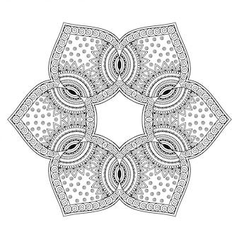 Okrągły wzór w formie kwiatu z dekoracją mandali. ozdobny ornament w etnicznym stylu orientalnym. kontur doodle ręcznie rysować ilustracja.