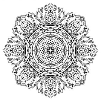 Okrągły wzór w formie mandali. dekoracyjny ornament w etnicznym stylu orientalnym. ilustracja rysować ręka doodle konspektu. książka do kolorowania.
