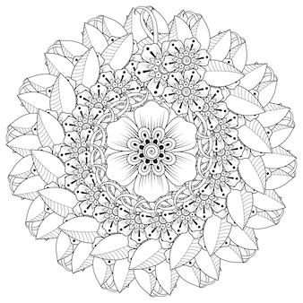 Okrągły wzór w formie mandali z dekoracją kwiatową. dekoracja kwiatowa mehndi w etnicznym orientalnym stylu indyjskim.