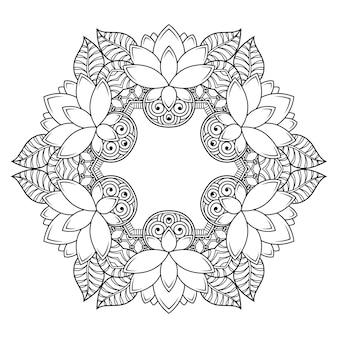 Okrągły wzór w formie mandali z kwiatem lotosu do henny, mehndi, tatuażu, dekoracji. dekoracyjny ornament w etnicznym stylu orientalnym. zarys doodle ręcznie rysować ilustracji wektorowych.