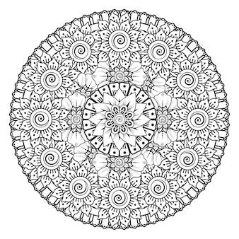 Okrągły wzór w formie mandali z kwiatem. ozdobny ornament w etnicznym stylu orientalnym do kolorowania