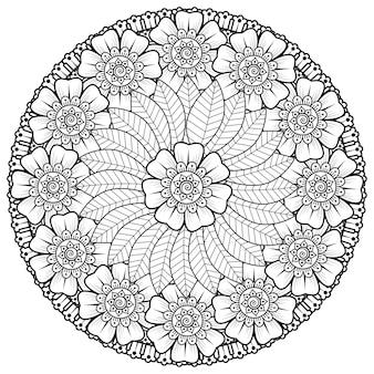Okrągły wzór w formie mandali z kwiatem. ozdobny ornament w etnicznym stylu orientalnym.
