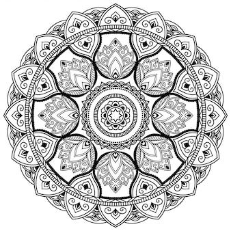 Okrągły wzór w formie mandali z kwiatkiem dla henny, mehndi, tatuażu, dekoracji. ozdobny ornament w etnicznym stylu orientalnym. kontur doodle ręcznie rysować ilustracja.