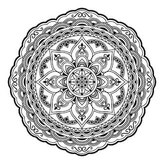 Okrągły wzór w formie mandali z kwiatkiem dla henny, mehndi, tatuażu, dekoracji. ozdobny ornament w etnicznym stylu orientalnym. zarys doodle