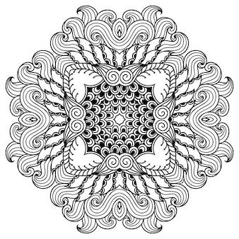 Okrągły wzór w formie mandali z kwiatkiem dla henny, mehndi, tatuażu, dekoracji. ozdobny ornament w etnicznym stylu orientalnym. zarys rysować ręka.