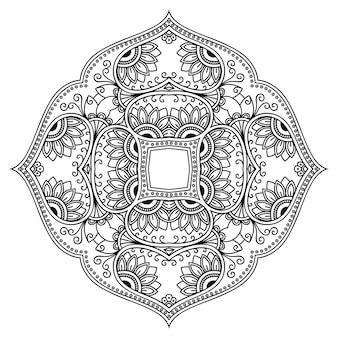Okrągły wzór w formie mandali z kwiatkiem dla henny, mehndi, tatuażu, dekoracji. ozdobny ornament w etnicznym stylu orientalnym.