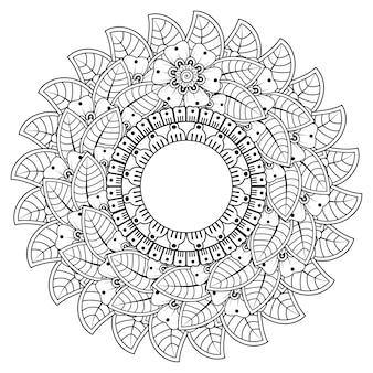 Okrągły wzór w formie mandali z kwiatkiem do dekoracji tatuażu henną mehndi. dekoracja kwiatowa mehndi w etnicznym orientalnym stylu indyjskim.