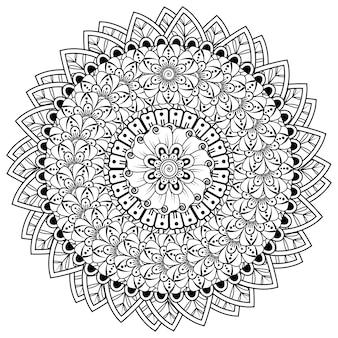 Okrągły wzór w formie mandali z kwiatkiem do dekoracji tatuażu henną mehndi. mehndi kwiatowa dekoracja w etnicznym orientalnym stylu indyjskim.
