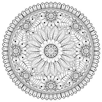 Okrągły wzór w formie mandali z kwiatkiem do dekoracji tatuażu henna mehndi