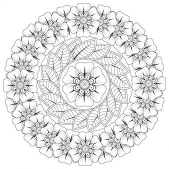 Okrągły wzór w formie mandali z kwiatkiem do henny, mehndi, tatuażu, dekoracji. dekoracja kwiatowa mehndi w etnicznym orientalnym, indyjskim stylu.