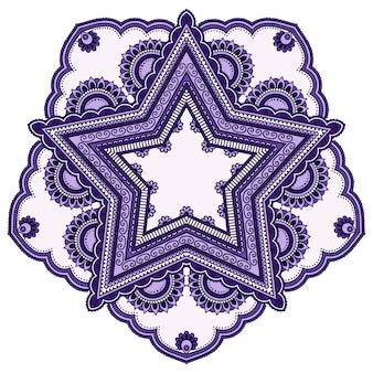 Okrągły wzór w formie mandali z kwiatkiem do henny, mehndi, tatuażu, dekoracji. dekoracyjny ornament w etnicznym stylu orientalnym. fioletowy wzór na czarnym tle.