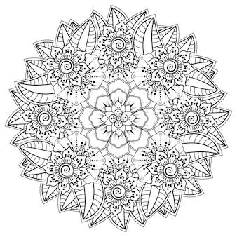 Okrągły wzór w formie mandali z kwiatkiem do henny, mehndi, tatuażu, dekoracji. ozdobny ornament w etnicznym stylu orientalnym. książka do kolorowania.